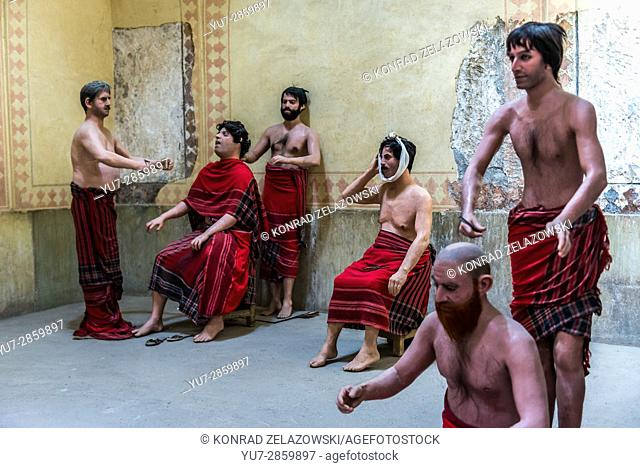 Wax figures dentist scene in old public baths called Vakil Bath in Shiraz city, capital of Fars Province in Iran