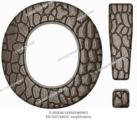 Alligator skin font exclamation mark and O letter