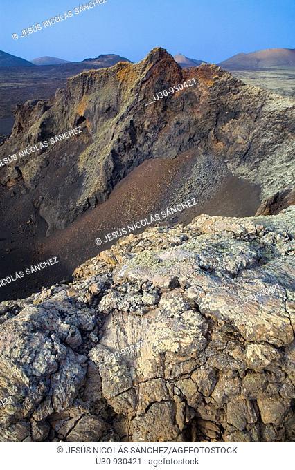 Lave in the crater rim of Raven Volcano  Volcan del Cuervo  Mancha Blanca  Tinajo  Lanzarote  Las Palmas province  Canary Islands  Spain