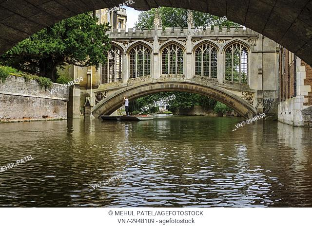 Punting on the River Cam by the Bridge of Sighs at St John's College, Cambridge, England, UK