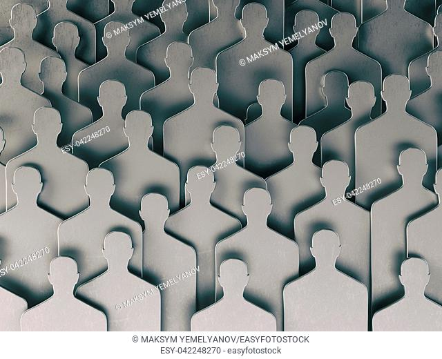 Backgound from shapes of people. Human resources and recruitment. 3d illustration