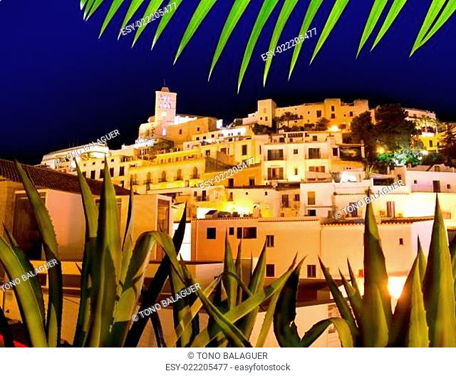 Ibiza Dalt Vila downtown in night lights