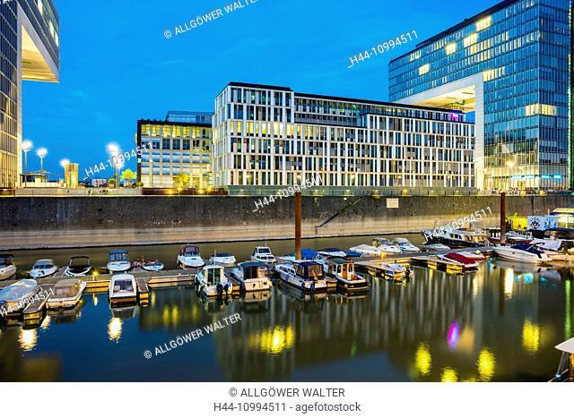 Yacht harbour, crane houses, Rheinauhafen, Cologne, North Rhine-Westphalia, Germany, Europe