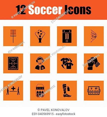 Set of soccer icons. Orange design. Vector illustration