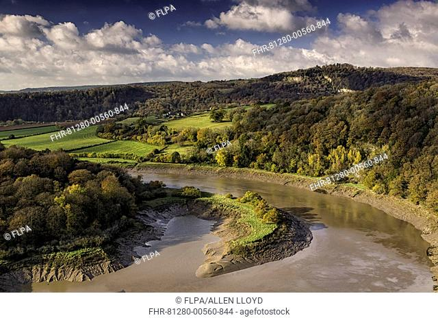 View of river, farmland and woodlands, Wintours's Leap, River Wye, Wye Valley, near Chepstow, South Wales, November