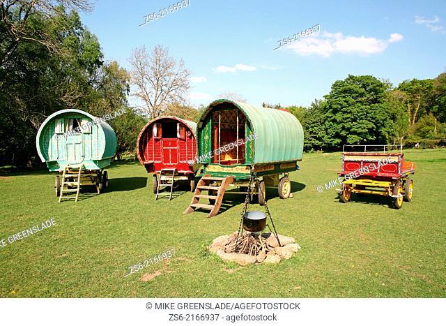 Old-fashioned Gypsy caravans, Dartmoor, Devon, UK