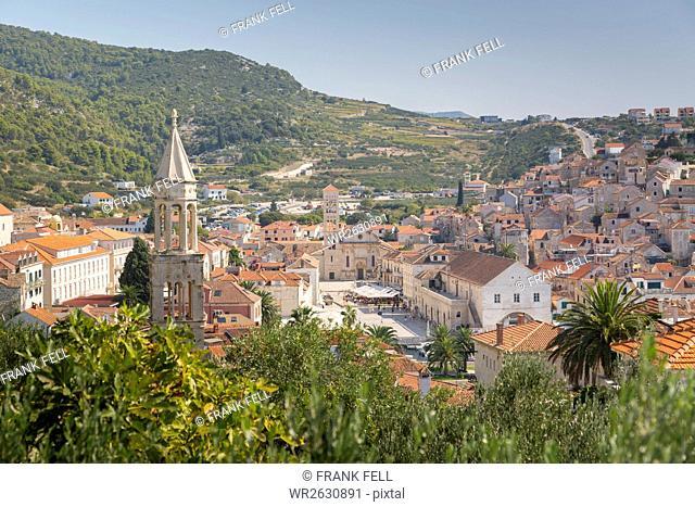 View over Hvar, Hvar Island, Dalmatia, Croatia, Europe