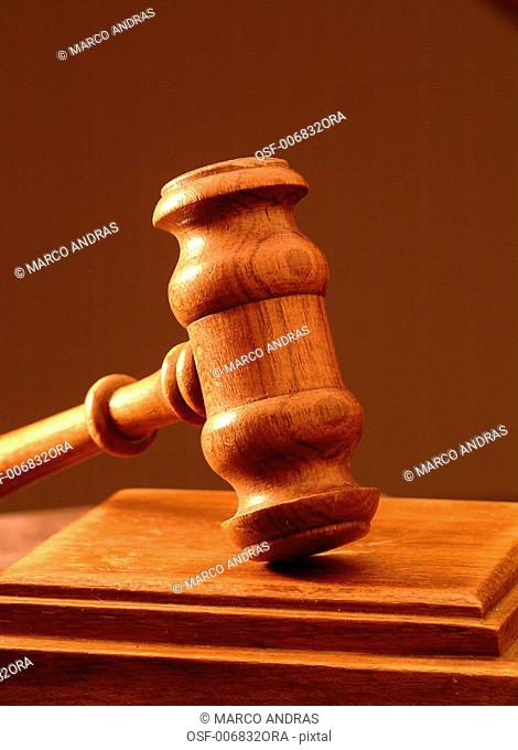 wooden hammer for justice court tribunal