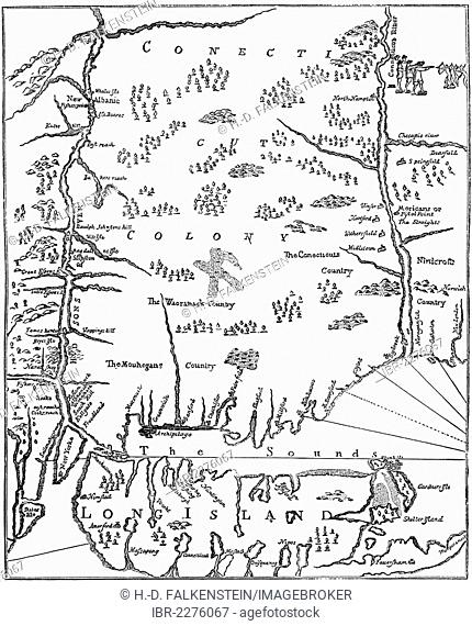 Historical drawing from the U.S. history of the 17th century, map by John Seller, 1630 - 1697, of New England, 1675