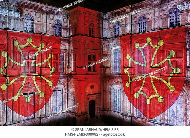 France, Haute Garonne, Toulouse, listed at Great Tourist Sites in Midi Pyrenees, Assezat Mansion, projected audiovisual show on the main façade of the monument