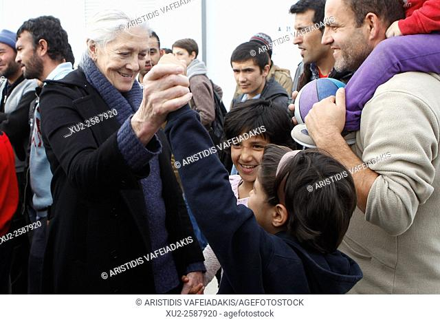 5 January 2016, Athens Greece. British actress and activist Vanessa Redgrave and screenwriter Martin Sherman is in Athens to be informed about the refugee...