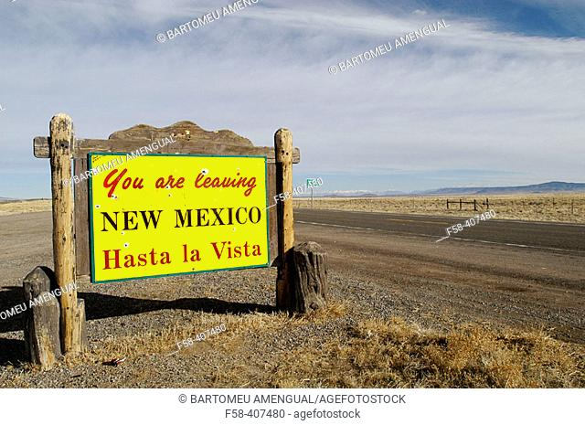 A sign on the highway from New Mexico into Colorado. USA