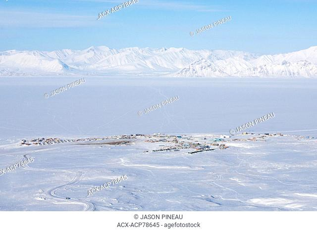 An aerial view of Pond Inlet, Nunavut