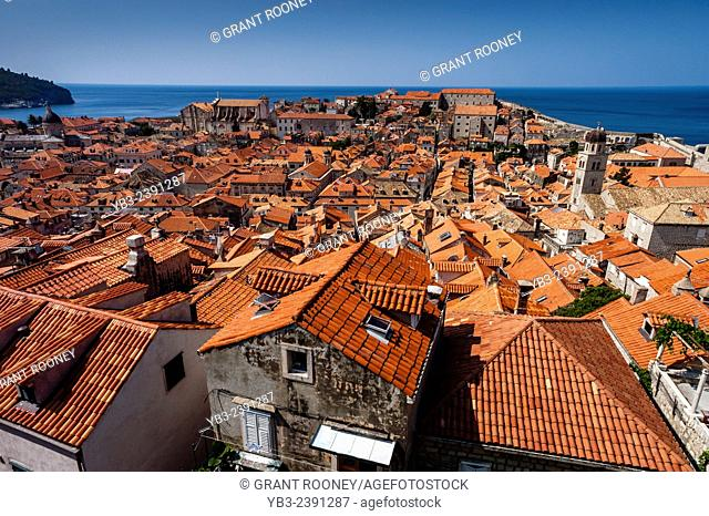 The Roof Tops Of The Old City, Dubrovnik, Dalmatia, Croatia