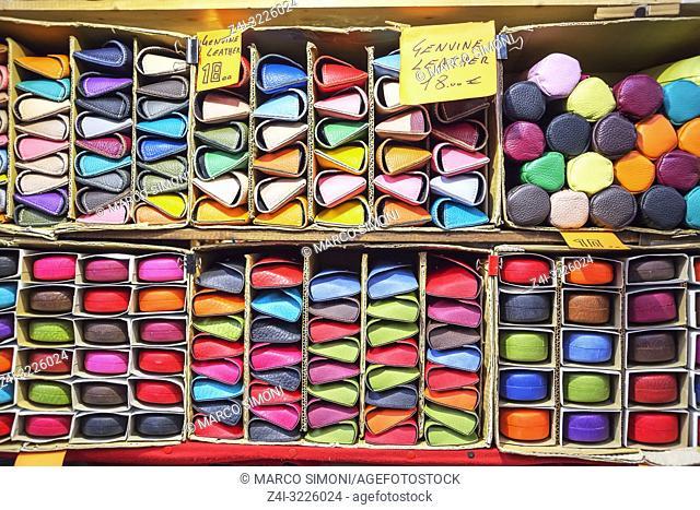 Italian leather goods, Mercato Nuovo, Florence, Tuscany, Italy, Europe