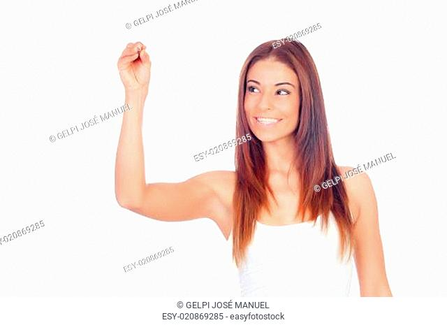 Attractive casual woman writing with a pen