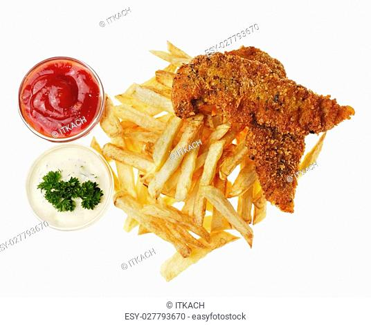Fresh tasty french fries on the white isolated background with souce and chicken nuggets