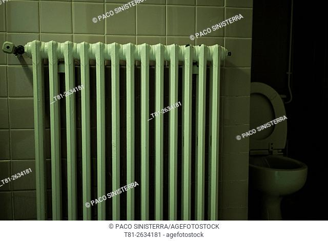 radiator in bathroom hotel, France