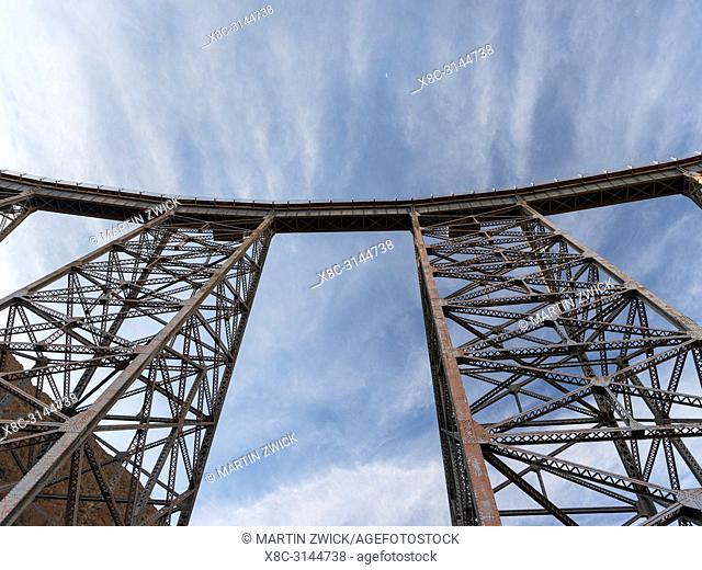 Railway bridge La Polvorilla landmark of the Altiplano in Argentina near San Antonio de los Cobres. The bridge is the final stop for the tourist train Tren a...