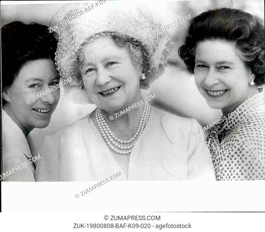 Aug. 08, 1980 - H.M. The Queen Mother 80: Queen Elizabeth the Queen Mother celebrates her 80th Birthday on August 4th. She is pictured at the Royal Lodge