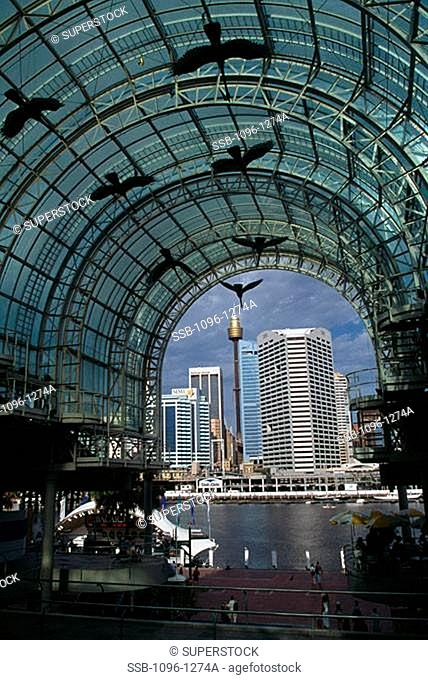 Group of people in a shopping mall, Harbourside Shopping Centre, Darling Harbor, Sydney, New South Wales, Australia
