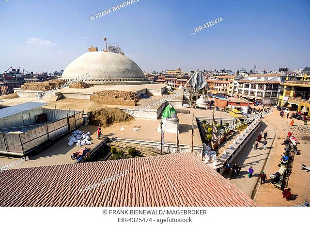 Boudhanath Stupa in Boudha got damaged during the 2015 earthquake and is under reconstruction now, Kathmandu, Nepal