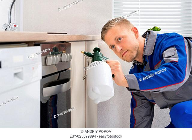 Young Worker Spraying Pesticide On Cabinet With Sprayer
