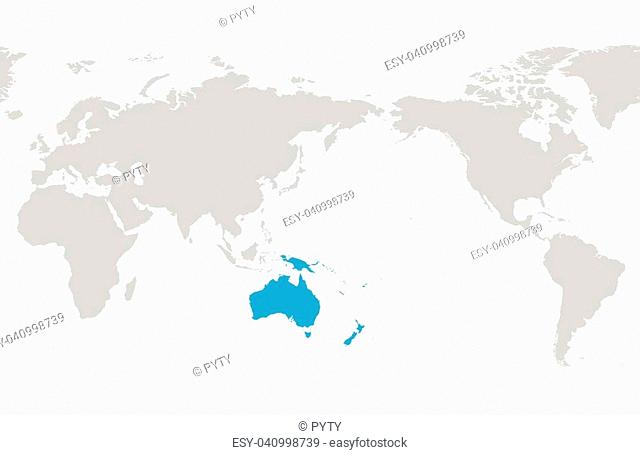 Austtralia and Oceania continent blue marked in grey silhouette of World map. Simple flat vector illustration