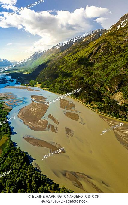 Aerial view of the Chilkat River, near Haines, Alaska USA
