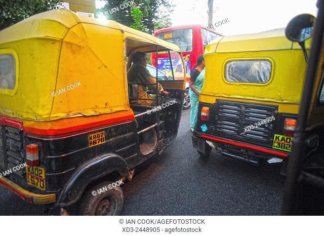 auto-rickshaws in traffic, Bangalore or Bengaluru, Karnataka, India