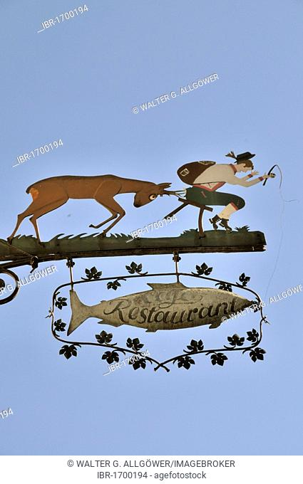 Funny restaurant sign, Bacharach, UNESCO World Heritage Site, Upper Middle Rhine Valley, Bacharach, Rhineland Palatinate, Germany, Europe