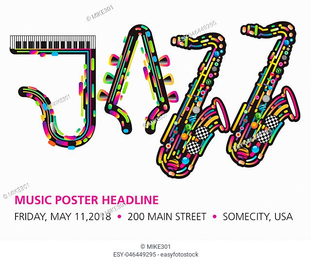 Jazzy colorful music background with an abstract sax