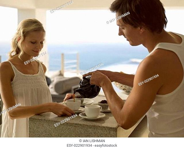 A couple drinking tea