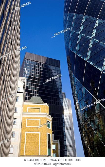 Gherkin Building and other buisness building in The City, London, UK