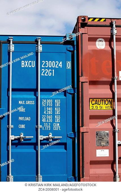 Oversized red cargo container locked. Denmark