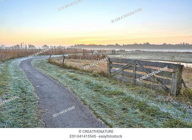 Misty agricultural polder landscape near Groningen, Netherlands