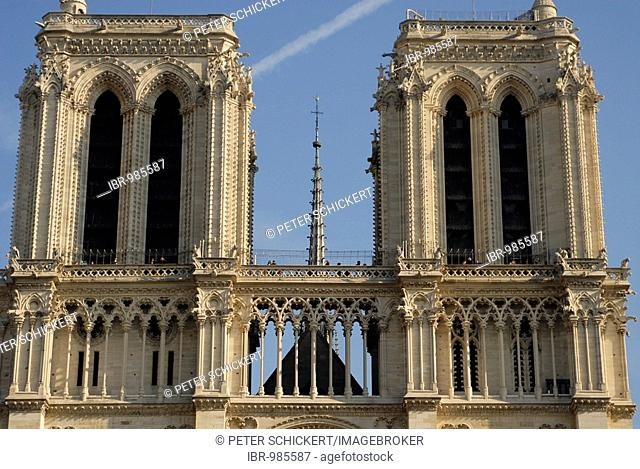 The towers of Notre Dame de Paris in Paris, France, Europe