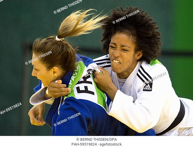 Germanys Miryam Roper (white) competes with Pavia Automne of France in the Women's -57kg Judo Women's Bronze Final B at the Baku 2015 European Games in Heydar...