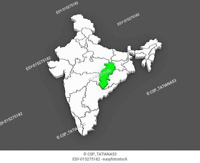Map of Chhattisgarh. India