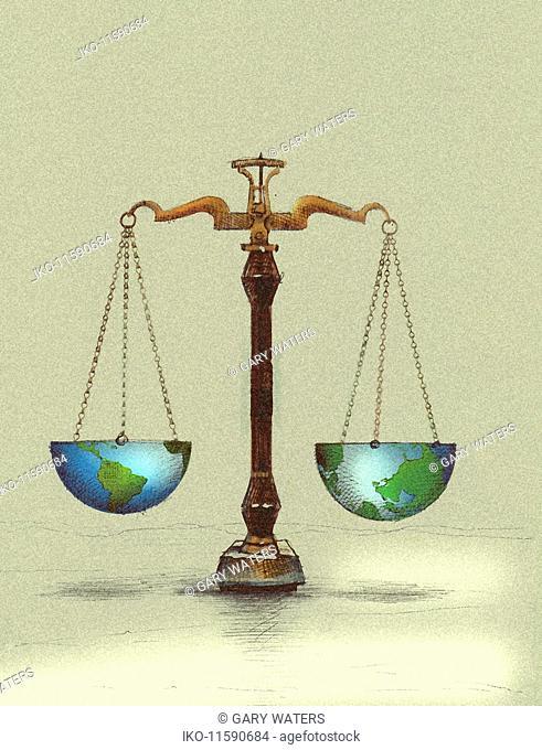 Scales balancing northern and southern hemispheres of globe