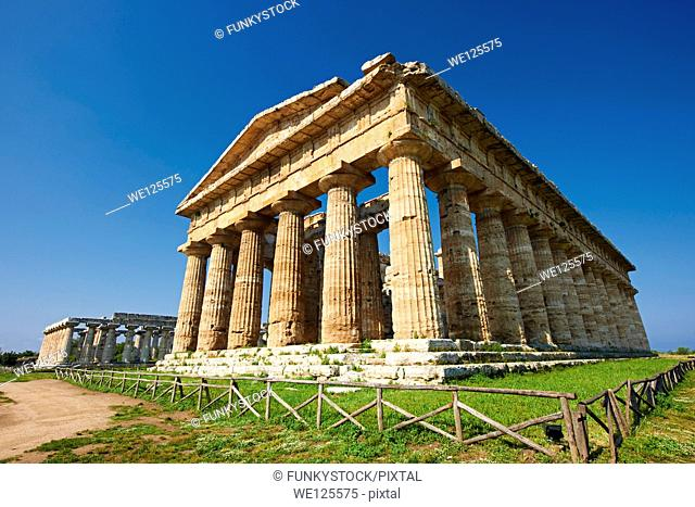 The ancient Doric Greek Temple of Hera of Paestum built in about 460-450 BC. Paestum archaeological site, Italy