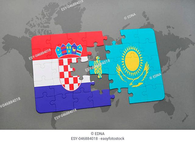 puzzle with the national flag of croatia and kazakhstan on a world map background. 3D illustration