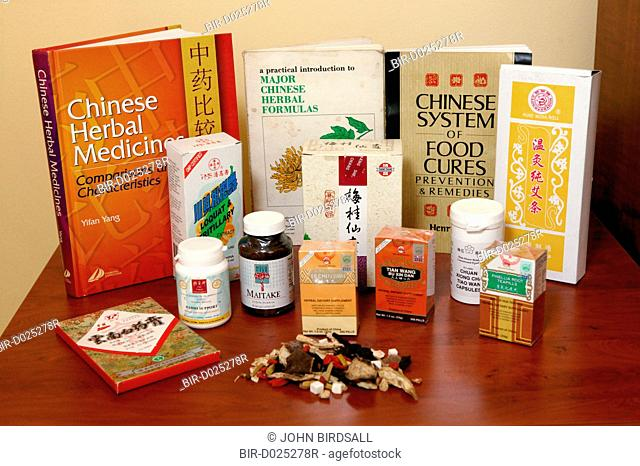 Selection of Chinese herbal medicine books and products