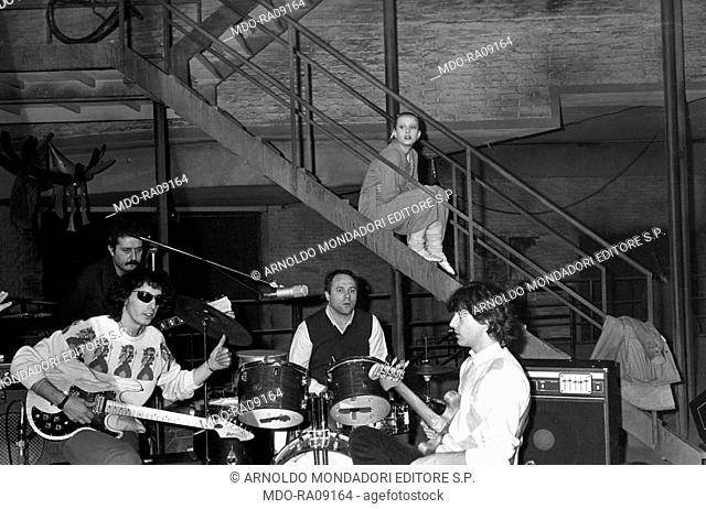 Italian actor and director Carlo Verdone playing drums during the shooting of a TV show. 2nd February 1982