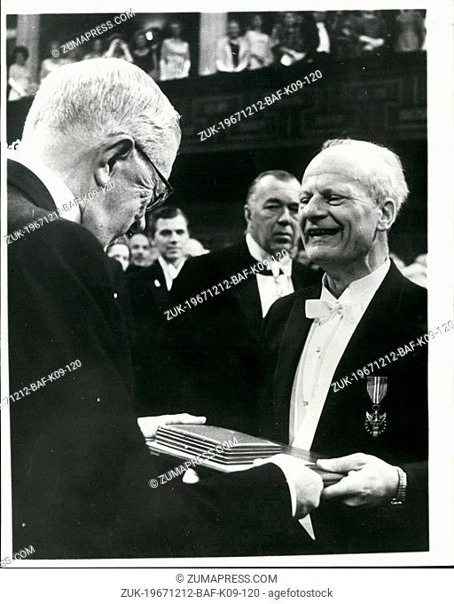 Dec. 12, 1967 - Nobel Prize Awards in Stockholm.: At a ceremony in the Concert Hall, Stockholm, on Sunday (Dec 10), King Gustav Adolf of Sweden presented this...