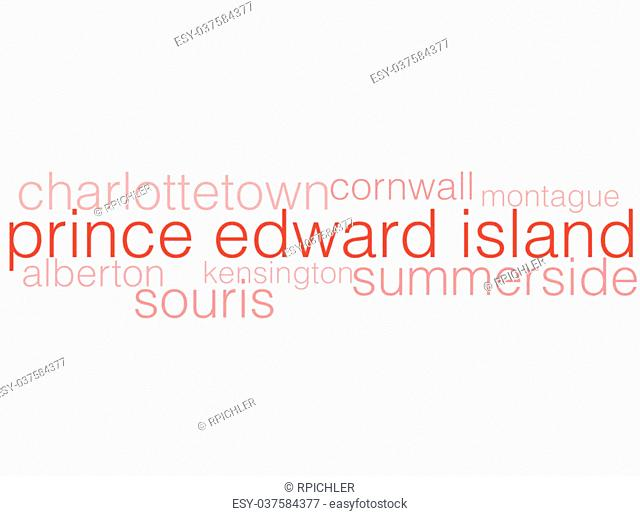 A word cloud listing the major cities of Prince Edward Island