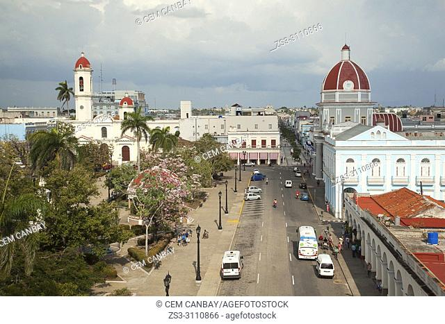 View from above to the Purisima Concepcion Cathedral and to the Goverment House-Palacio del Gobierno in Jose Marti Park at the historic center, Cienfuegos, Cuba