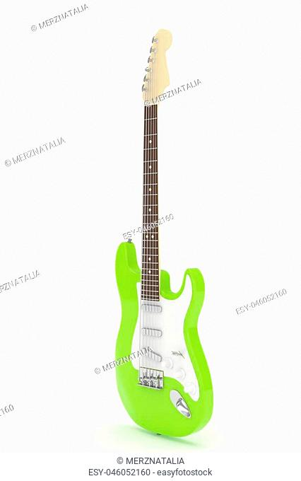 Isolated green electric guitar on white background. Musical instrument for rock, blues, metal songs. 3D rendering