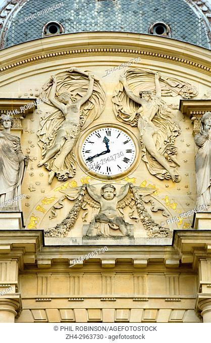 Paris, France. Jardin du Luxembourg (6th Arr) Clock on the facade of the Palais du Luxembourg (c1750: Jean-Andre Lepaute)