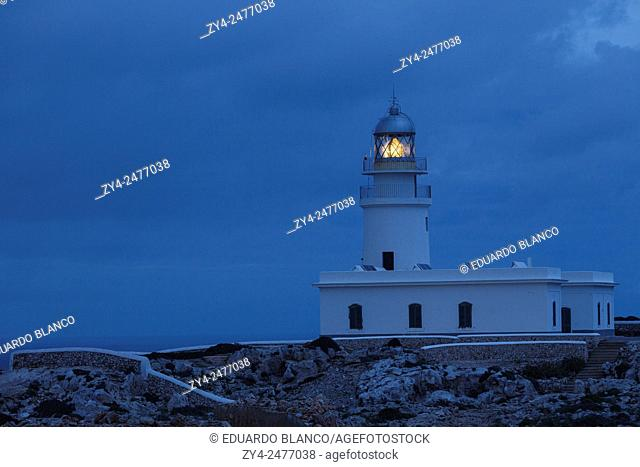 Cavalleria lighthouse at night. Minorca. Balearics islands. Spain. Europe